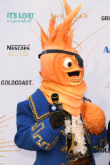 Pardon? The giant rubber prawn not answering questions on the Logies red carpet.