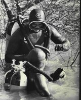 Police divers search in the Nepean River for clues to the disappearance of Ms Nielsen,  July 14, 1975.