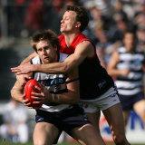 James McDonald tackles Tom Lonergan.