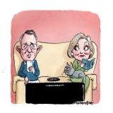 Paul Fletcher and Ita Buttrose. Illustration: John Shakespeare