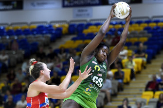 Jhaniele Fowler wins the ball during the victory over the Swifts.