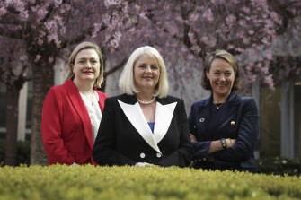 "Science Minister Karen Andrews (centre), with Defence chief scientist Tanya Monro (left) and DFAT chief innovation officer Sarah Pearson (right), says Australia is experiencing an ""unprecedented"" level of female leadership in science."