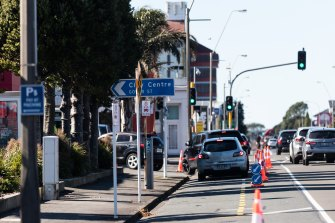 The queue for KFC in New Plymouth spilled out onto Courtenay Street at lunchtime