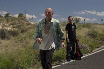 Bryan Cranston as Walter White and Aaron paul as Jesse Pinkman in Breaking Bad.