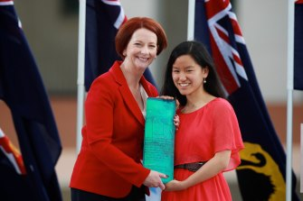 As Young Australian of the Year in 2012, with then PM Julia Gillard.