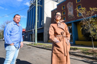 Jewish Arts Quarter co-chair Joe Tigel and Jewish Museum of Australia director Jess Bram at the site of the proposed precinct in Elsternwick.