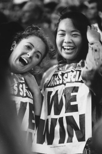 Joanne Hales and Yosline Kondo at the Olympic Bid announcement in Circular Quay Sydney on September 23, 1993.