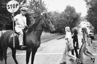 In 1980, lollipop man Jock Read made himself conspicuous to Eltham motorists by riding Eddie, one his three horses, while on the job.