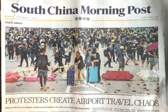 Hong Kong's South China Morning Post used language critical of the protesters in its Monday edition.