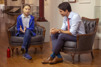 Canadian Prime Minister Justin Trudeau and Swedish environmental activist Greta Thunberg meet in Montreal on Friday.