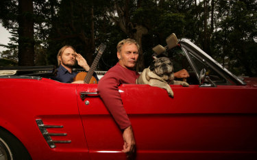 Kent Steedman and Damien Lovelock in his red Mustang.