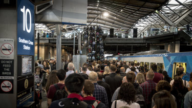 The commuter crush on platform 10 at Southern Cross Station.