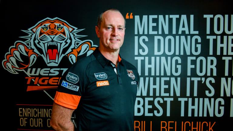 New home: Michael Maguire on his first day at Wests Tigers.