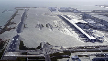 Kansai International Airport is partly inundated following a powerful typhoon in Osaka, western Japan.