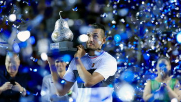 Nick Kyrgios celebrates after winning in Mexico last month.