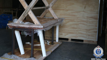 Wooden furniture used to conceal the drug shipment.