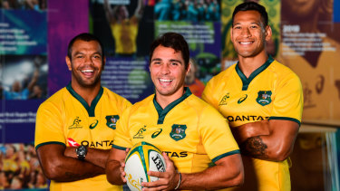 Happier days: Kurtley Beale, left, Nick Phipps and Israel Folau less than a month before Folau's Instagram post sparked outrage.