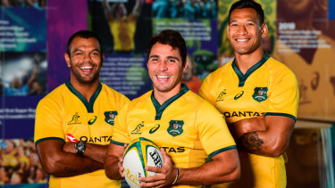Wallabies and Waratahs team mates Beale, left, halfback Nick Phipps and Folau in March 2019, less than a month before Folau's Instagram post sparked outrage.