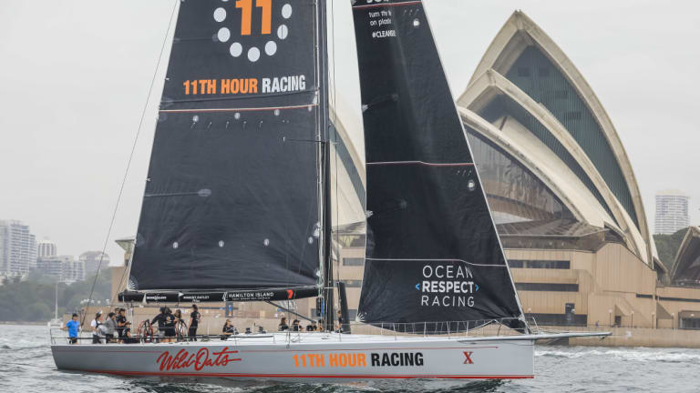 At sail: Wild Oats X in 11th Hour Racing colours on a practice sail in Sydney Harbour.