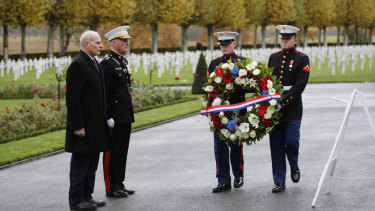 White House Chief of Staff John Kelly, left, and Chairman of the Joint Chiefs of Staff, Marine General Joseph Dunford attending the  ceremony at the Aisne Marne American Cemetery.