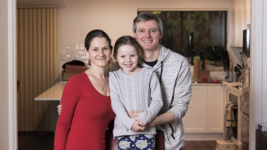 Elspeth Ennion and Mal Walters and their five year-old mother in their home in Randwick.