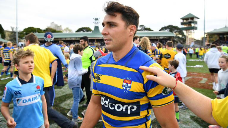 Controversial inclusion: Wallaby Nick Phipps runs on for the Shute Shield final.