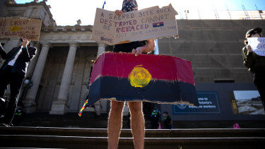 Protest on the steps of Parliament on Thursday regarding the Djab Wurrung trees.