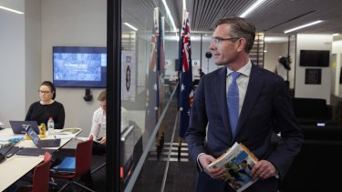 *EMBARGOED TILL 12PM JUNE, 2021*  NSW Treasurer Dominic Perrottet  at the 2021 NSW budget lock up held in Martin Place, Sydney on June 22, 2021. Photo: Dominic Lorrimer