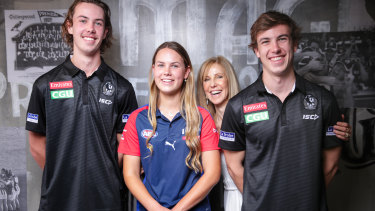 Tyler, Tarni, Kerry and Callum Brown at Collingwood on Monday.