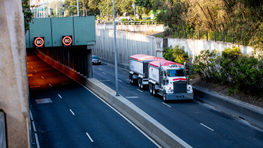 A truck moves through Sydney's M5 East.
