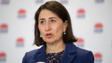Premier Gladys Berejiklian providing an update on COVID-19 on Sunday.