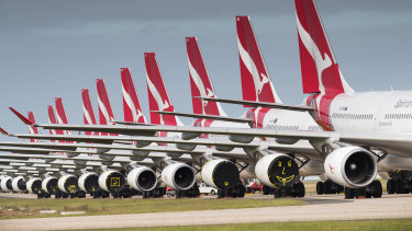 Qantas planes grounded at Avalon Airport, outside Melbourne, in April 2020.
