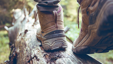 We hear the crunch of his boots on gravel, twigs, dirt and leaves.