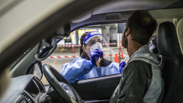 A drive-thru testing clinic at Bunnings' West Footscray store.