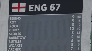 The scoreboard shows the England total for their 1st inning of 67 all out.