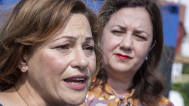 Deputy Premier Jackie Trad insists Labor's position on the Adani mine has not changed, despite Premier Annastacia Palaszczuk's (right)  decision on Wednesday to step in.