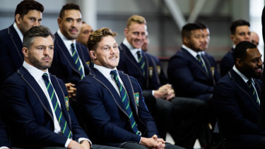 Look who's missing: The Wallabies pose at the announcement of the World Cup squad.