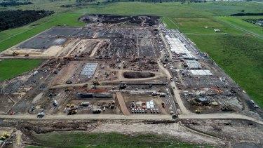 Construction on the Mickleham quarantine facility on Thursday.