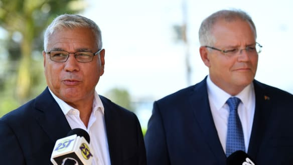 Liberal candidate for Gilmore Warren Mundine with Prime Minister Scott Morrison in Nowra on Wednesday.