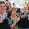 Sewing 'Sisters' stitch old police uniforms into clothes for kids