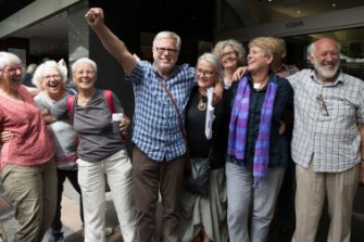 Gloucester residents after their win in a NSW court against the proposed Rocky Hill open-cut coal mine in Gloucester.