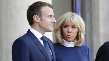 French president Emmanuel Macron, left, with his wife Brigitte Macron on Monday.