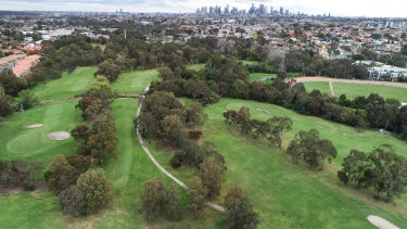 An aerial shot of the course.
