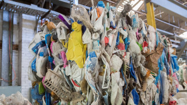 Contaminated plastic waiting to go into the plant.