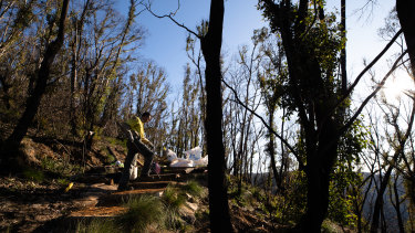 James Ridder repairs the fire-damaged Braeside walking track in the Blue Mountains.