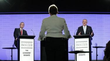 Opposition Leader Bill Shorten and Prime Minister Scott Morrison during the National Press Club debate.