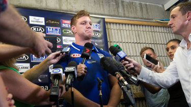Worlds colliding:  Dylan Napa confronts the media for the first time after lewd videos of the NRL star were leaked on social media.