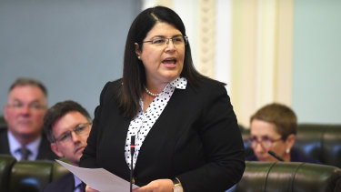 Queensland Education Minister Grace Grace in Queensland Parliament