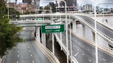 No cars visible on the Riverside Expressway in Brisbane's CBD during Brisbane three-day lockdown.