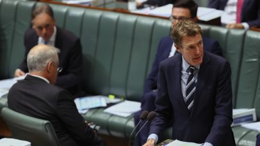 Minister for Industry, Innovation and Science Christian Porter during Question Time in the House of Representatives at Parliament House in Canberra on May 12, 2021